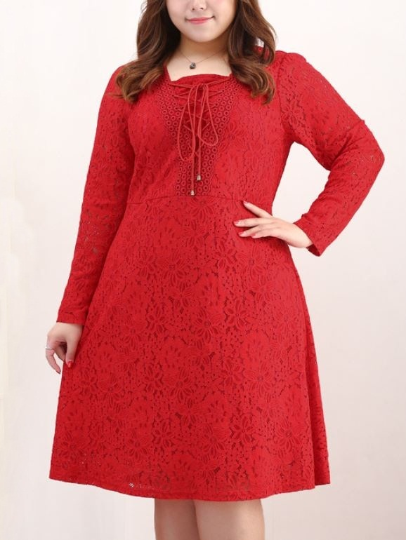 Kulwant Lace Up Ribbon Lace Midi Dress (EXTRA BIG SIZE)