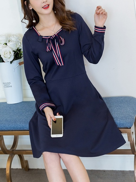 Lale Stripe Ribbon Navy Dress