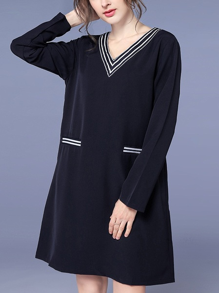 Lamis Modern Stripe V-Neck Dress