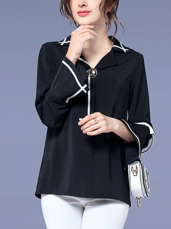Lanah Monochrome Bell Sleeve L/s Top