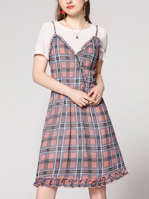 Lainie Tee and Pink Plaid Dress Set