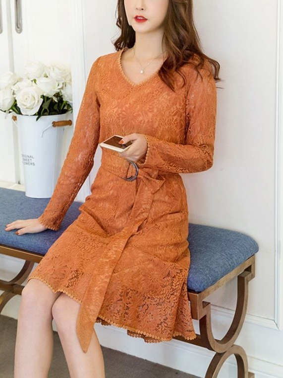 Lalacia Belted V Neck Lace Dress