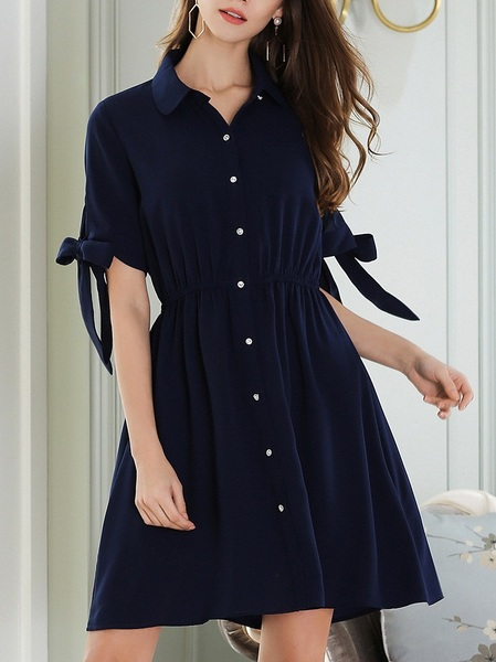 Landly Ribbon Tie Shirt Dress (BLUE)