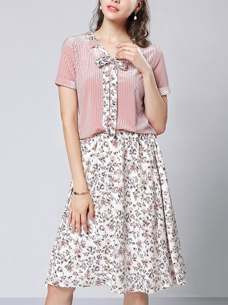 Lanette Pink Flowers Top and Skirt Set