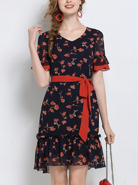 Lapis Red Floral Navy Dress