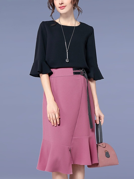 Lariah Bell Sleeve Blouse and Pink Frill Skirt Set