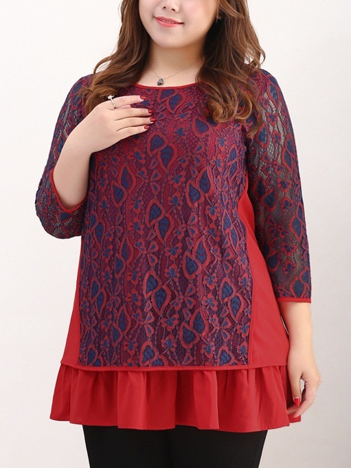 Latonya Navy meets Red Lace Layer Blouse (EXTRA BIG SIZE)