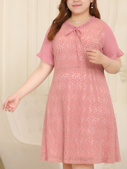 Lindsy Pink Lace Dress