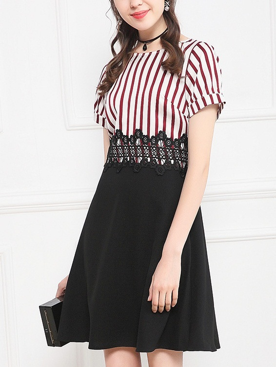 Linnea Stripe Lace Waist Dress