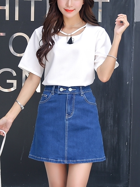 Double-button Denim Skirt (EXTRA BIG SIZE)