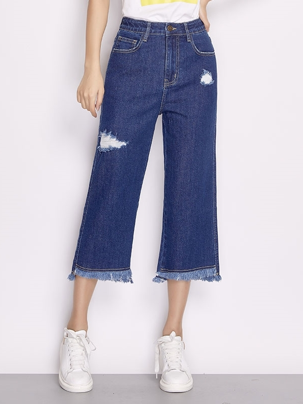 Fray Wide-leg Culottes Pants