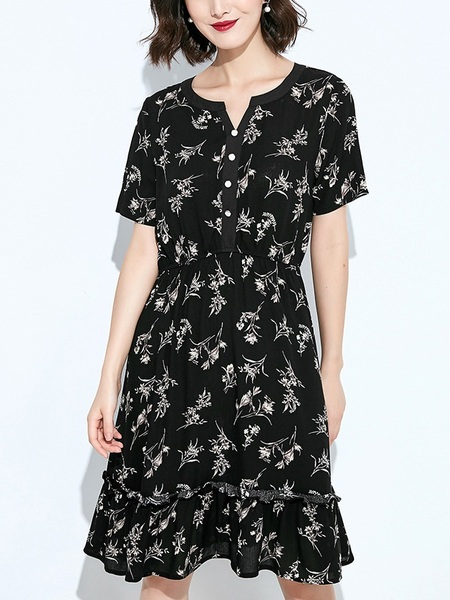 Liseth Floral V-Button Dress