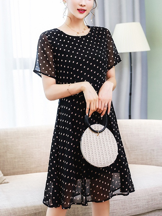 Liva Polka Dots Button Dress
