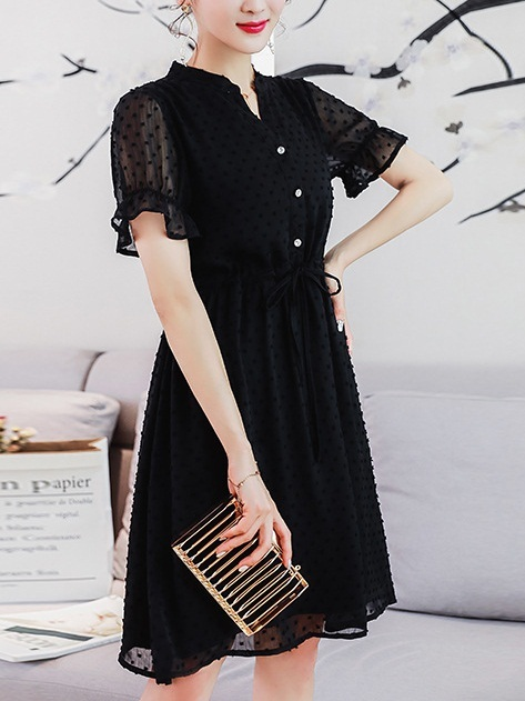 Livana Pindot Waist Tie Shirt Dress