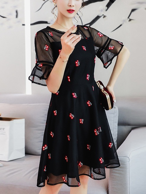 Live Floral Embroidery Mesh Dress