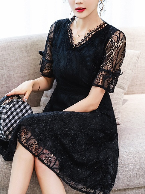 Liyah Lace Ribbon Sleeve Dress