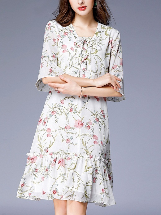 Liz White Floral Dress