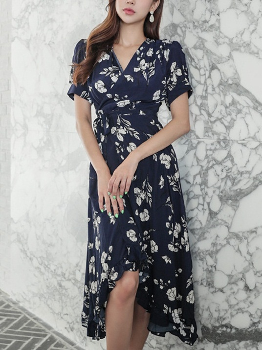 Lorella Navy Wrap Floral Midi Dress