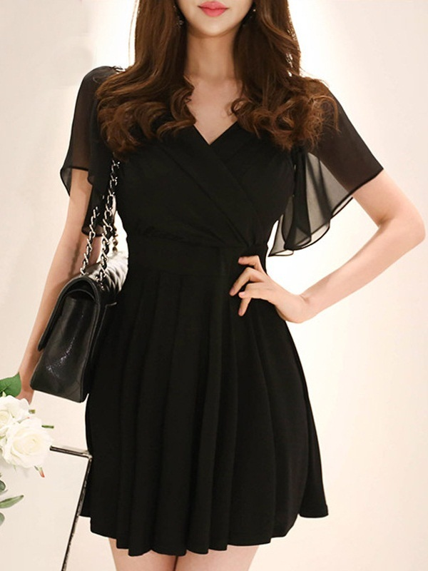 Lorena Wrap Bust Chiffon Sleeve Dress