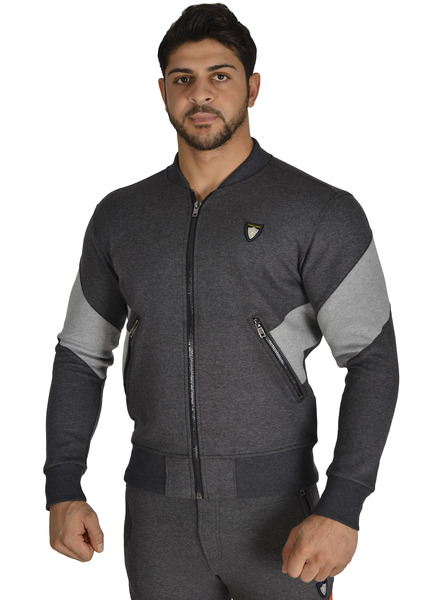 Anthracite Men Bomber Sweat Jacket Stilya *3609*