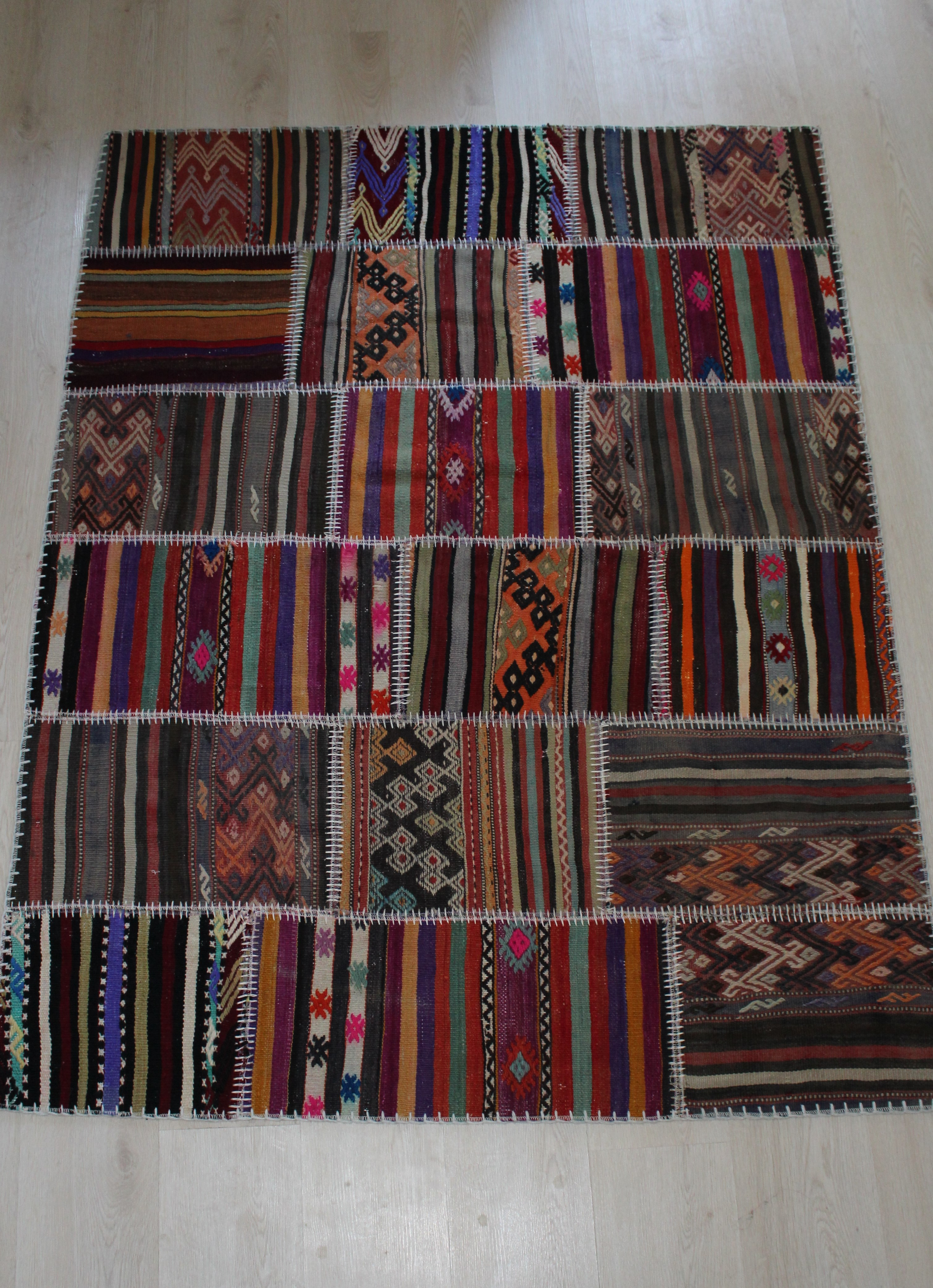 Turkish Handmade Patchwork Kilim Rug Vegetable Dyed Rugs Real Carpets
