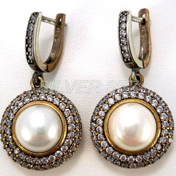 925 sterling silver hurrem  kosem sultan earrings round pearl color turkish ottoman