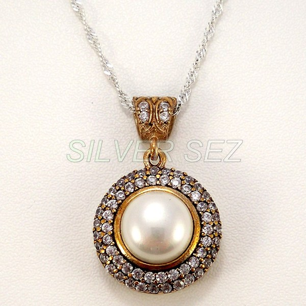 925 sterling silver pendant necklace hurrem kosem sultan round pearl color