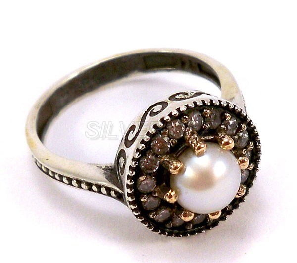 925 sterling silver hurrem sultan ring pearl color turkish ottoman -  3390