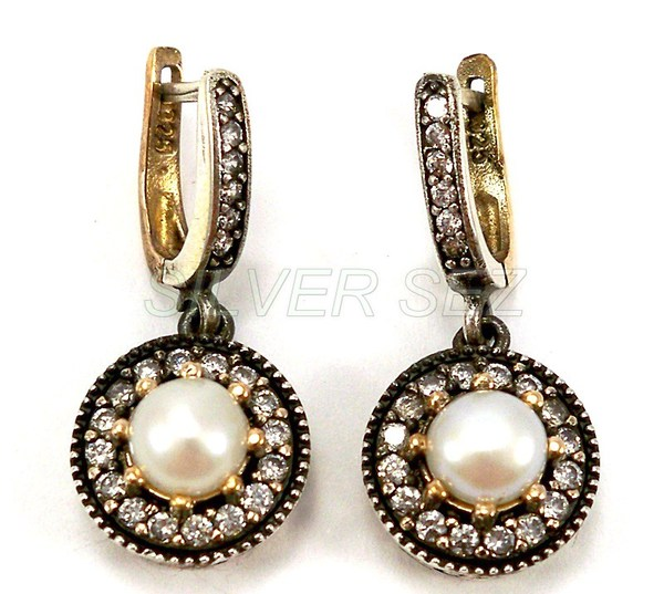 925 silver hurrem sultan earrings pearl color turkish ottoman