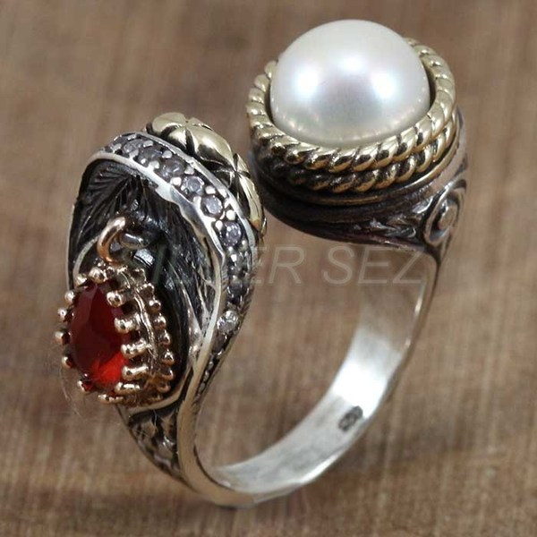 925 sterlng silver ring pearl color hurrem kosem sultan turkish handmade ottoman - 1831