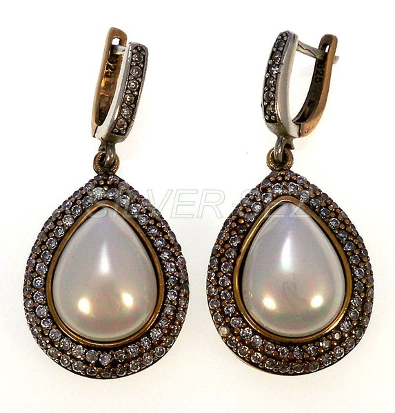 925 sterling silver hurrem sultan drop pearl color earrings turkish ottoman jewellery