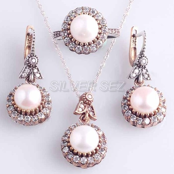 925 sterling silver set pearl zircon hurrem kosem sultan turkish ottoman - 1260