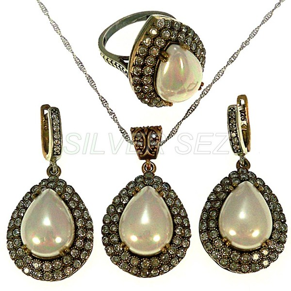 925 sterling silver set hurrem kosem sultan drop pearl  turkish handmade