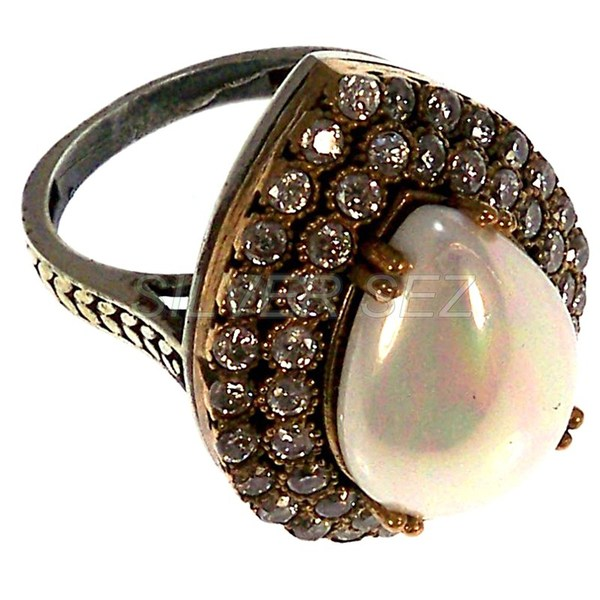 925 sterling silver ring pearl drop hurrem sultan turkish handmade