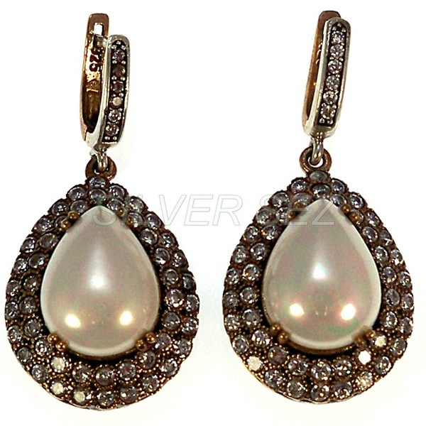 925 sterling silver earrings drop pearl hurrem sultan turkish handmade