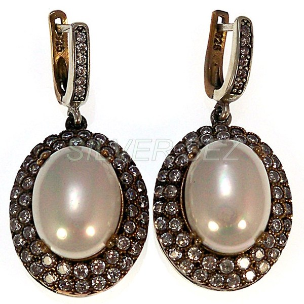 925 sterling silver drop pearl earrings kosem sultan turkish handmade