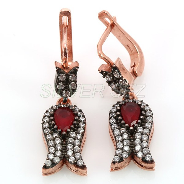 925 sterling silver earrings ottoman tulip ruby red topaz rose plated turkish handmade