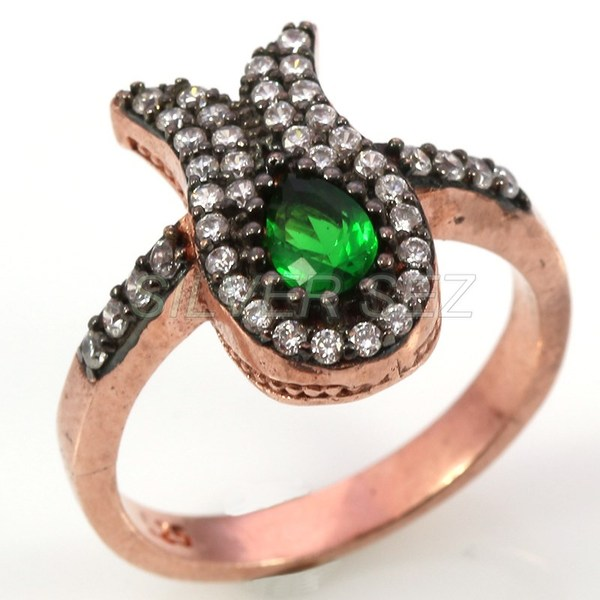 925 sterling silver ring ottoman tulip emerald green topaz rose plated turkish handmade