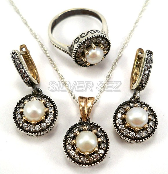 925 sterling silver set kosem hurrem sultan pearl color  - 6379