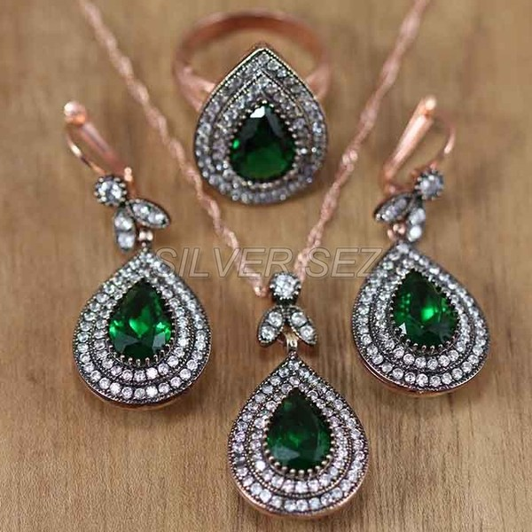 silver set rose gold plated teardrop emerald green - set002