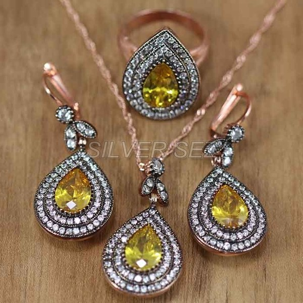 silver set rose gold plated teardrop topaz yellow  -  set004