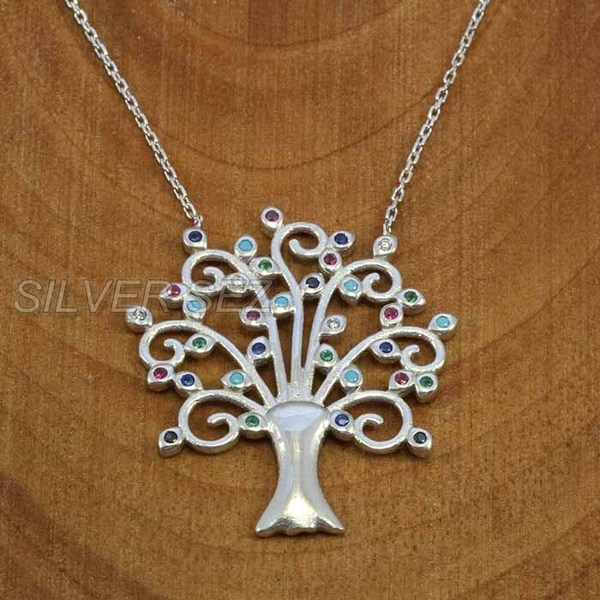 silver necklace pendant life tree multi colors - k022