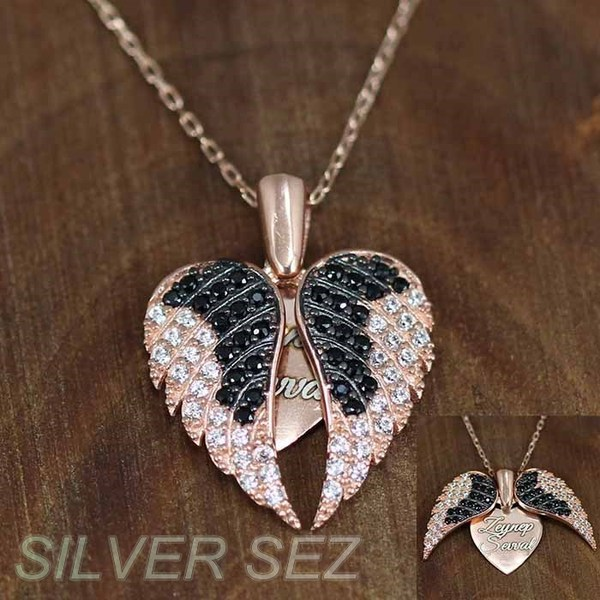 silver necklace pendant heart wings rose gold plated  - 6703