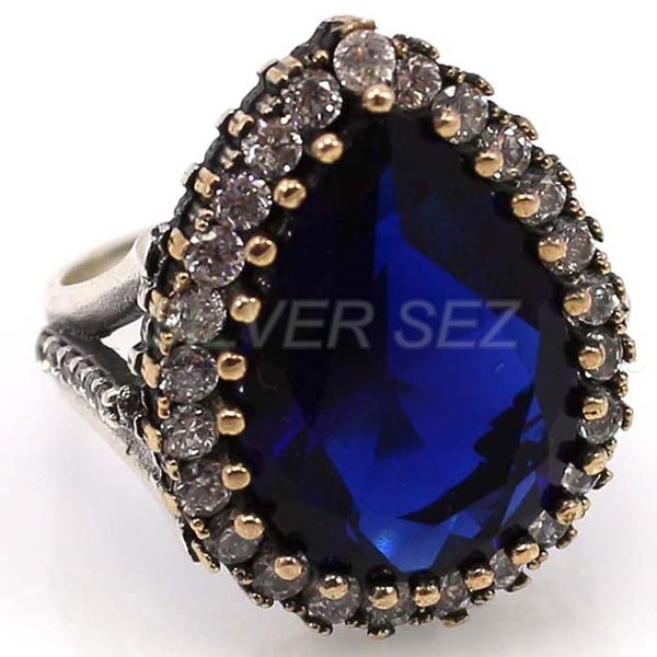 925 sterling silver ring hurrem sultan sapphire blue - 5312