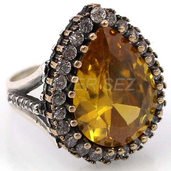 925 sterling silver hurrem sultan ring yellow color turkish handmade - 5313