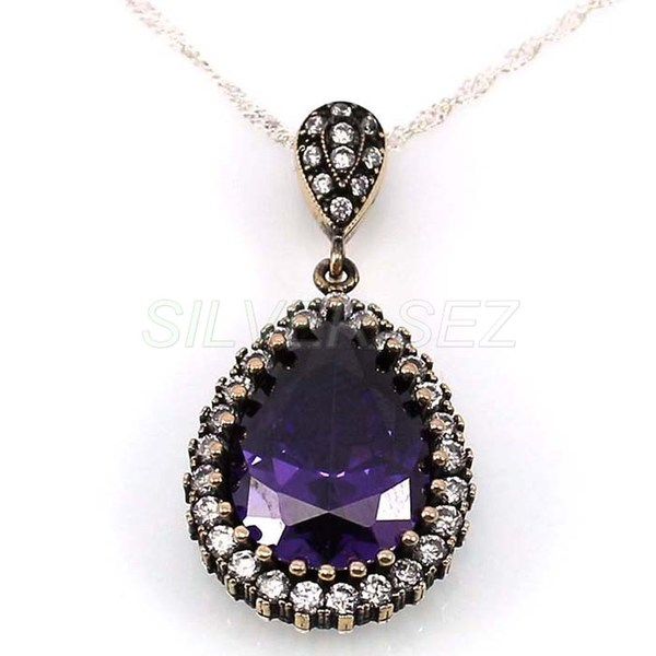 925 sterling silver necklace authentic hurrem amethyst purple turkish handmade - 4671