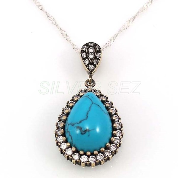 925 sterling silver necklace authentic hurrem veined turquoise turkish handmade - 4683
