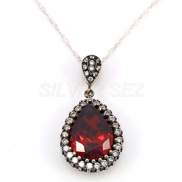 925 sterling silver necklace authentic hurrem vermilion red turkish handmade - 4687