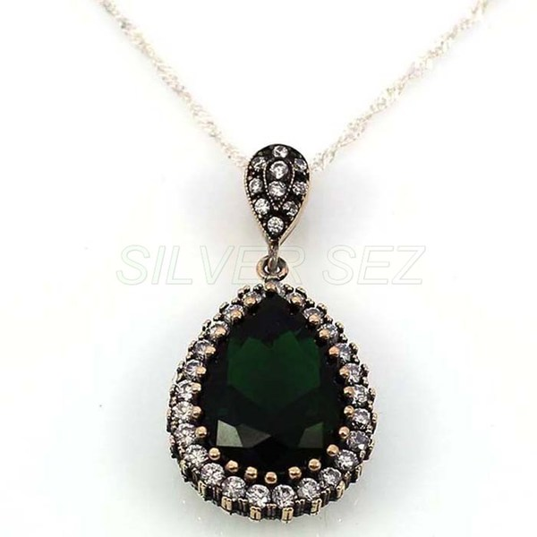 925 sterling silver necklace authentic hurrem emerald green turkish handmade - 4707