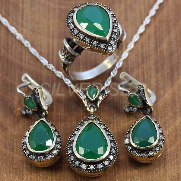 925 sterling silver set hurrem kosem sultan grass green color turkish handmade - T010